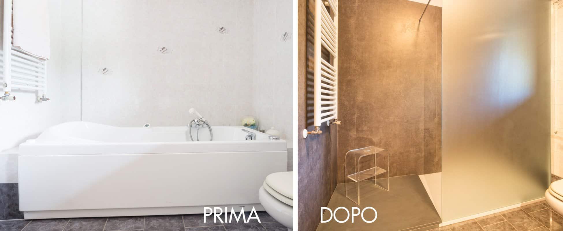 trasformare vasca in doccia prima e dopo