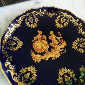 LIMOGES piattino Castel Francia piastra di oro blu cobalto, 22k Oro Dipinto