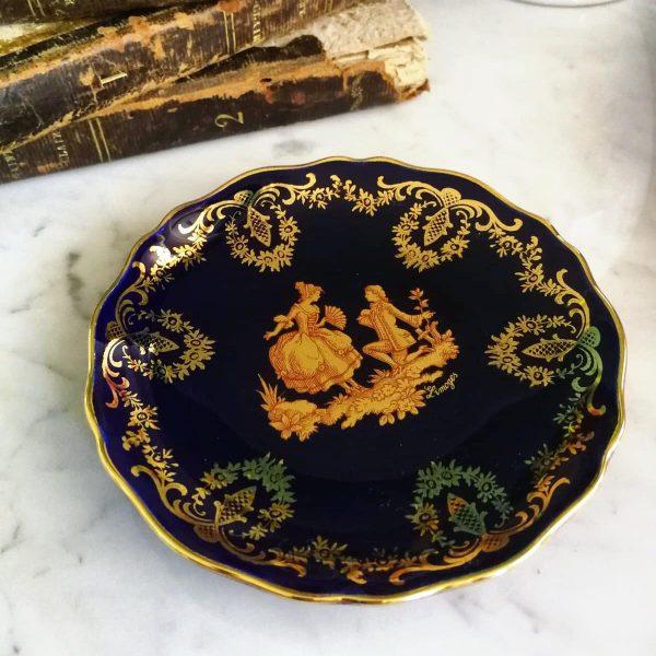 piattino LIMOGES porcellana francese Castel Francia piastra di oro blu cobalto, 22k Oro Dipinto