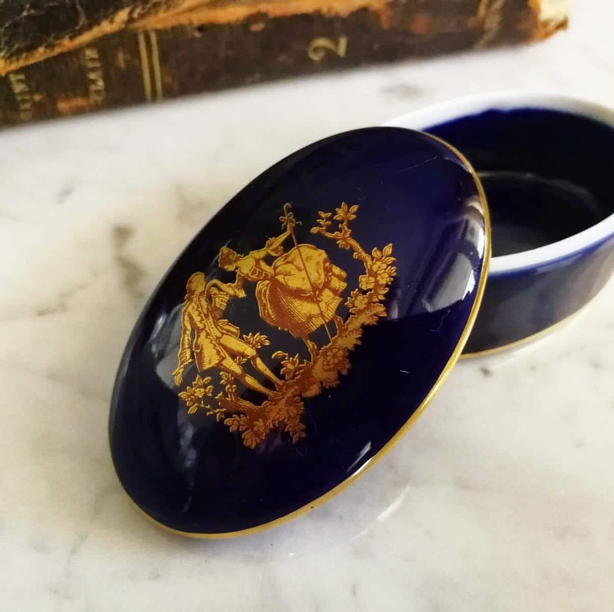 scatoletta vintage limoges porcellana francia blu con decori a mano oro originale