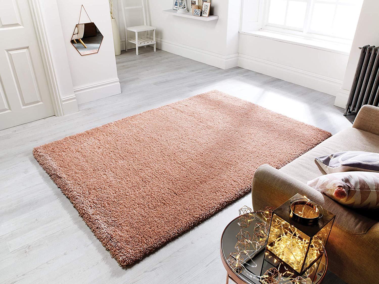 tappeto con pelo rose gold