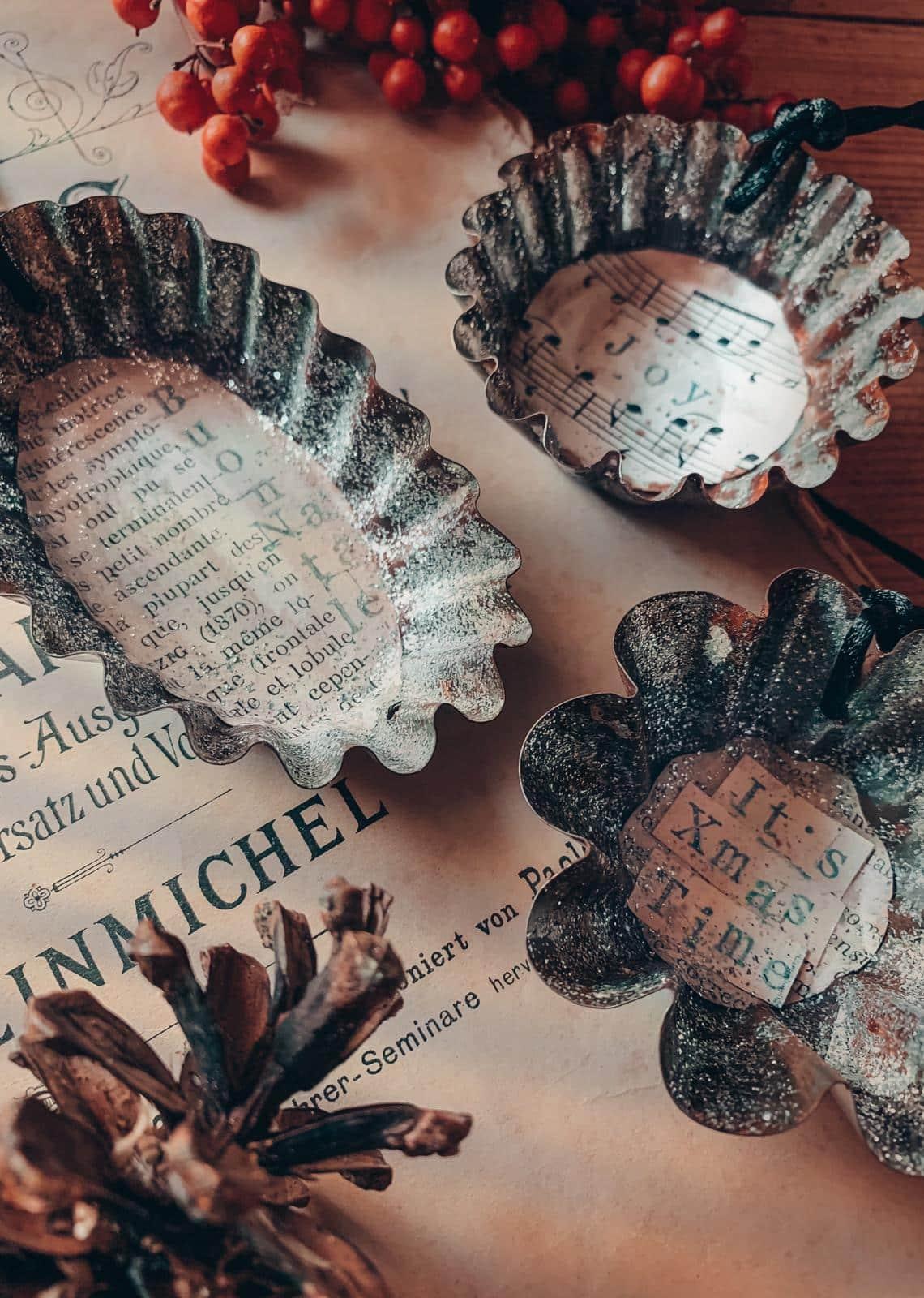 tris decorazioni natale metallo vintage fatte a mano
