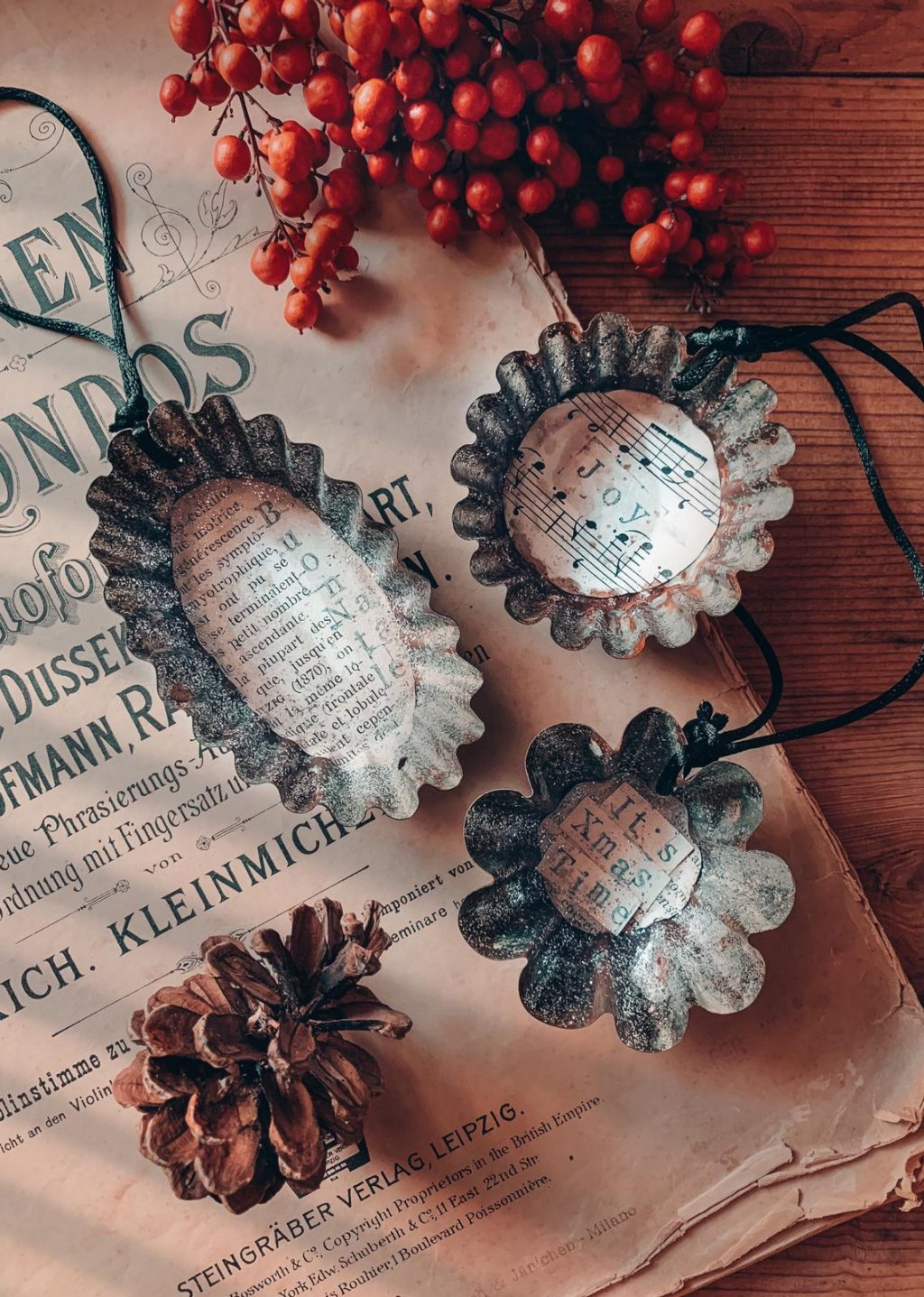 tris decorazioni natale vintage fatte a mano Italia