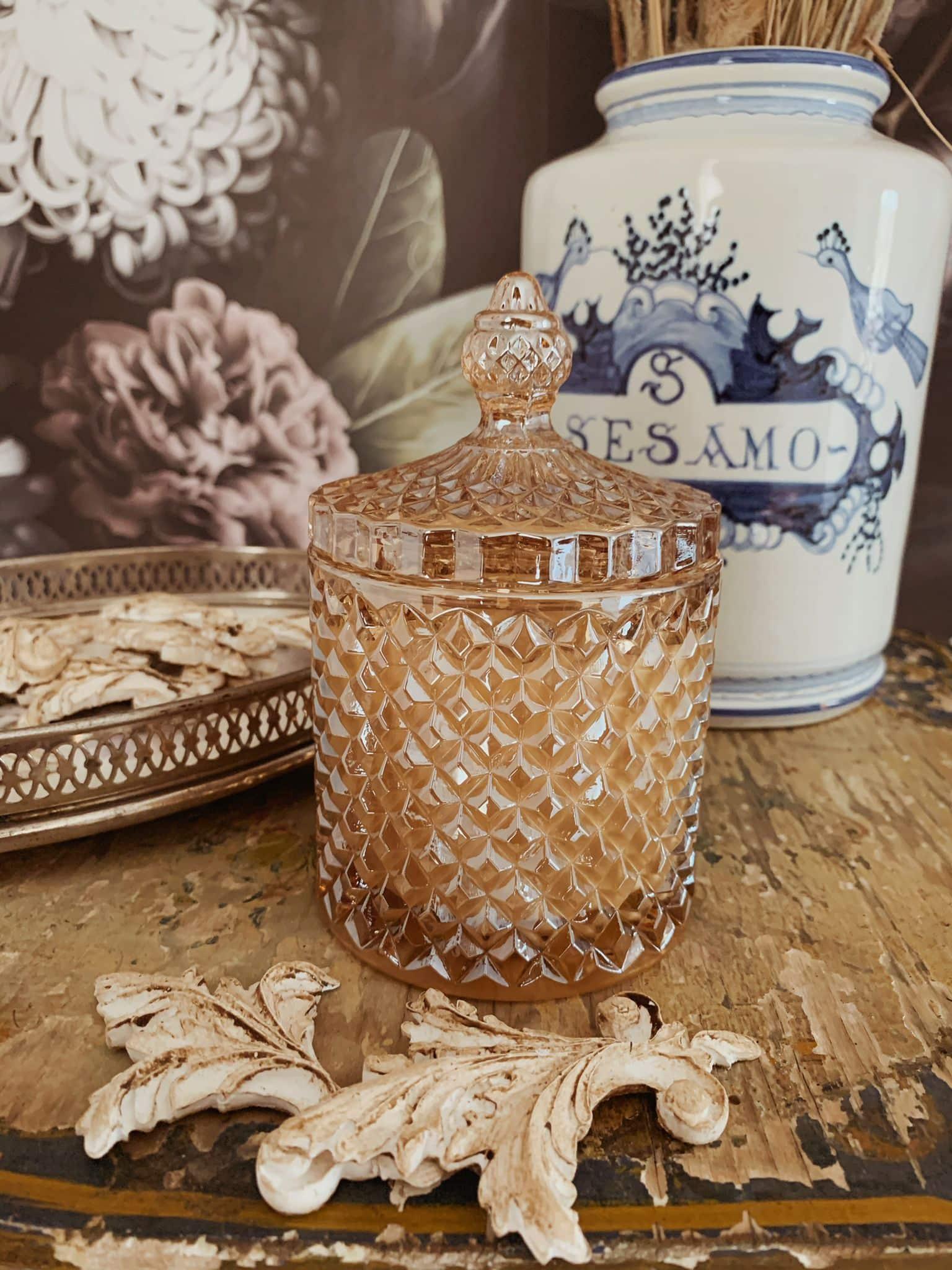 vendita online candela cera di soia biologica contenitoro vetro con coperchio