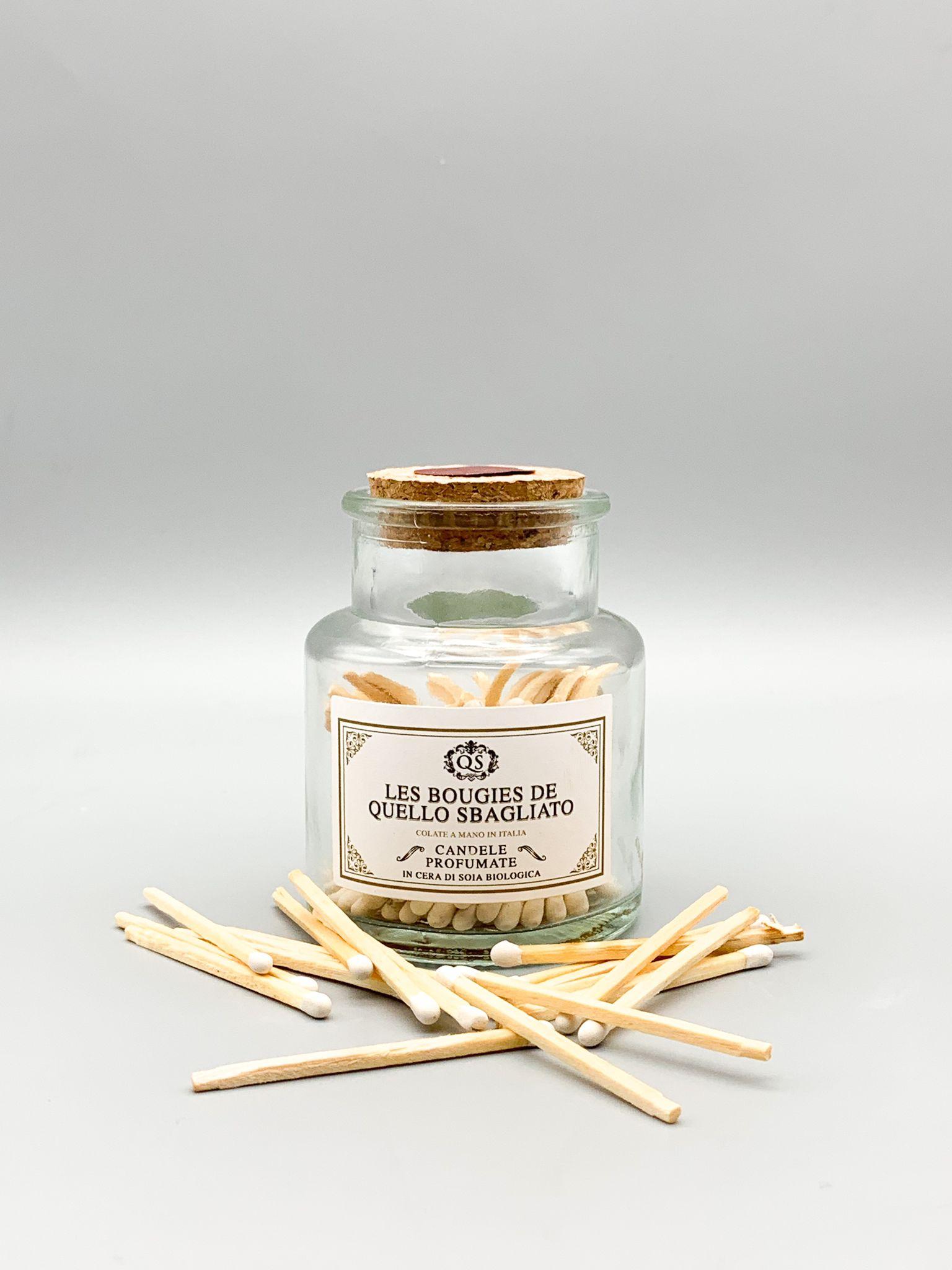 fiammiferi matches per accensione candele in cera di soia biologica