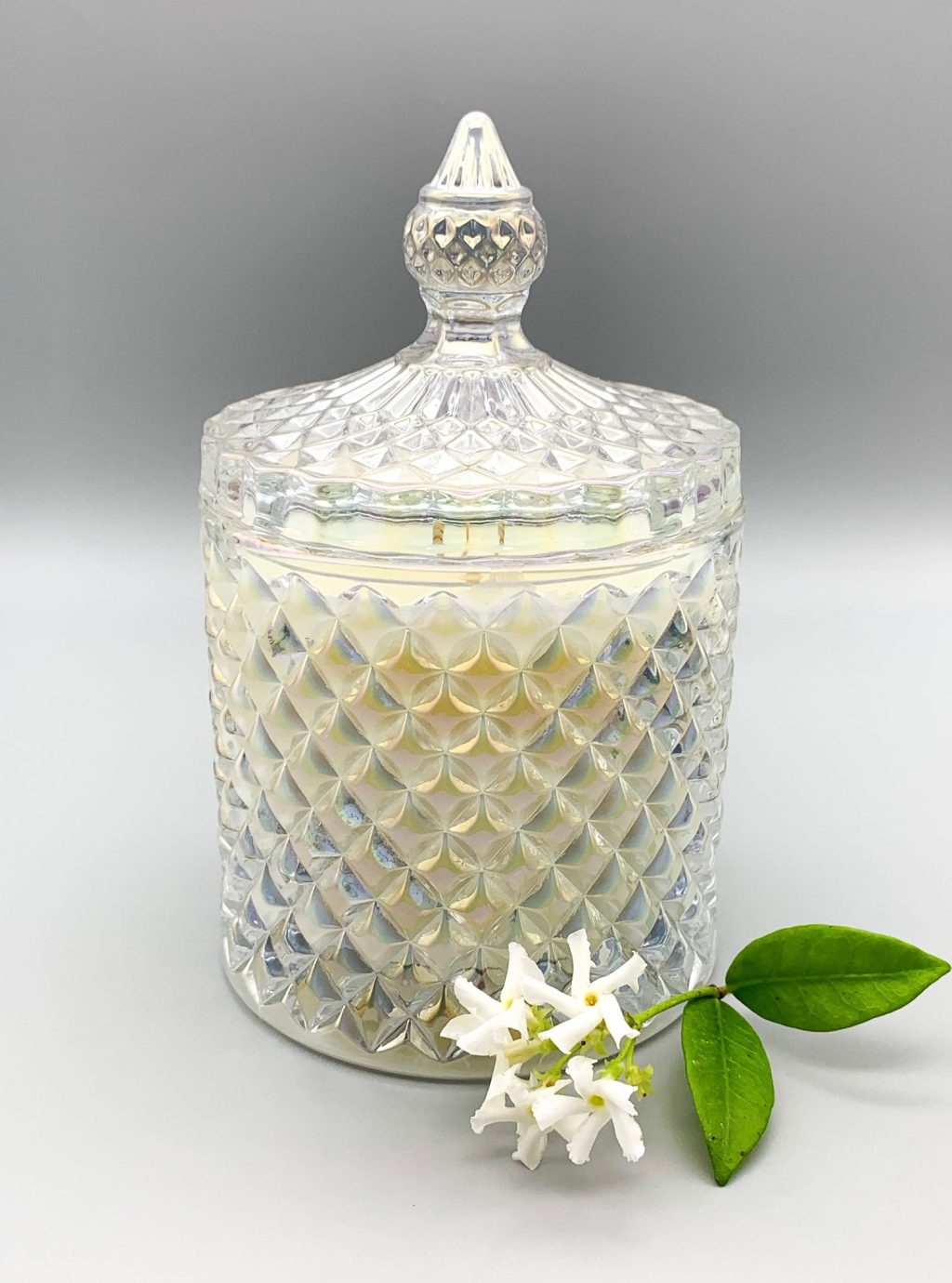 candela in cera di soia biologica al gelsomino